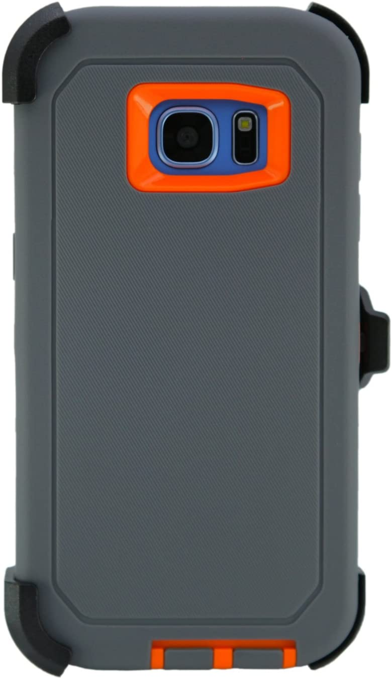 """WallSkiN Turtle Series Belt Clip Cases for Galaxy S7 Edge (5.5""""), 3-Layer Full Body Life-Time Protective Cover & Holster & Kickstand & Shock, Drop, Dust Proof - Dark Grey/Orange"""