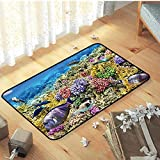 N/A Felpudos Entrada Casa Rug, Fashion Natural Bedroom Decor Rugs & Carpets For Kids Children Tropical Ocean Scenery Under The Sea Falfombra De Puerta Entrada Antideslizante,