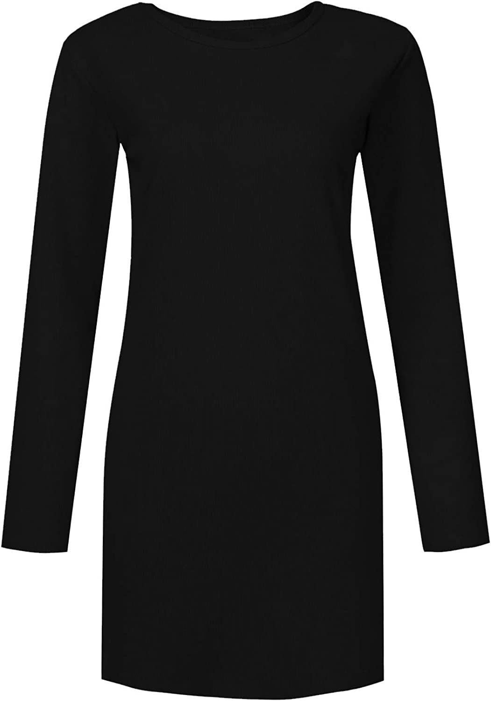 Muicook Slim Casual Knit A-Line Mini Dress Long Sleeve For Women O-Neck