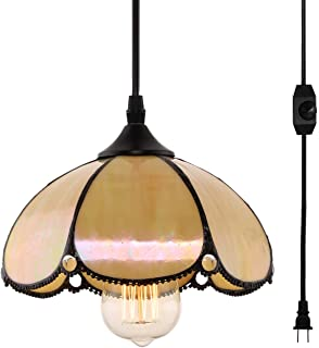 HMVPL Tiffany Style Pendent Ceiling Light with 16.4 Ft Plug in Cord and On/Off Dimmer Switch, Dome Shaped Swag Hanging Lamp for Kitchen Island, Dining Room or Living Room