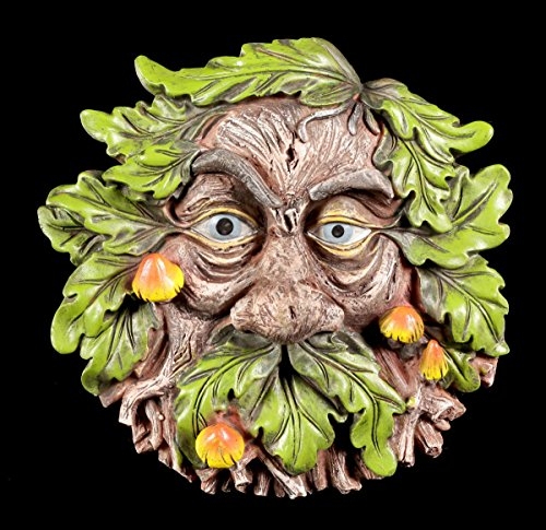 Waldgeist Wandrelief - Pilziger Griesgram   Gesicht Deko Baum Garten Schmuck