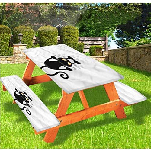 Divertida mesa de picnic y banco de mesa, mantel ajustable, diseño de gato travieso con bordes elásticos, 28 x 172 pulgadas, juego de 3 piezas para camping, comedor, al aire libre, parque, patio