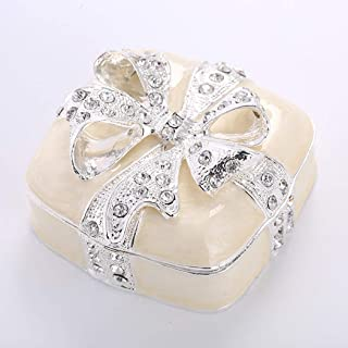 Zinc Alloy Jewelry Trinket Box Diamond Bow Jewelry Box European Hand-Painted Jewelry Storage Box Vintage Style Jewelry Organizer for Earrings Rings,Beige