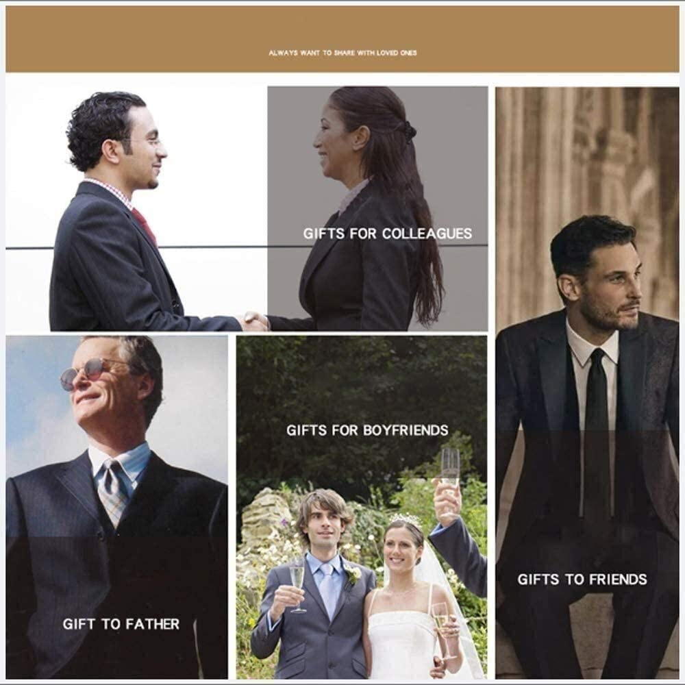 Plain Men Ties for Wedding Business Handkerchief Cufflinks Necktie Solid Colors Fashion Tie Boutonniere Silk Necktie Cravat Handkerchief Cufflinks Set for Formal Wedding Business Party