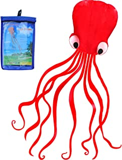 HENGDA KITE-Beautiful Large Easy Flyer Kite for Kids - Red Mollusc Octopus-It's Big! 31 Inches Wide with Long Tail 157 Inches Long-Perfect for Beach or Park