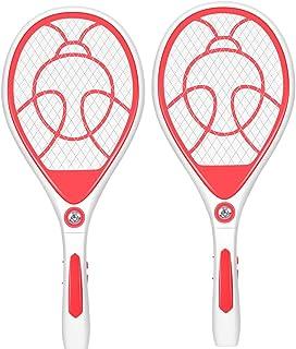 Chlry Mata Mosquitos electrico, Matamoscas Raqueta electrico, Recargable, con Luces LED, Material de ABS, Seguro, antimosquitos Bug Zapper,2pcs