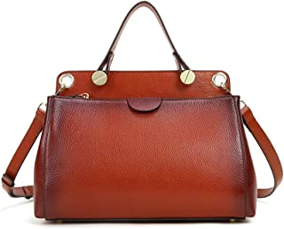 Genuine Leather Handbags for Women Satchels Top Shoulder Totes Work Crossbody Doctor Style Bag
