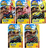 Big N' Monster Wheels Character Action Jam Squarepants 5-Pack Official Pickup Bundle + Spongebob Yellow Bubble bash / Patrick Star / Squidward / Mr. Krabs / Plankton Die-Cast 5 Items Bundle