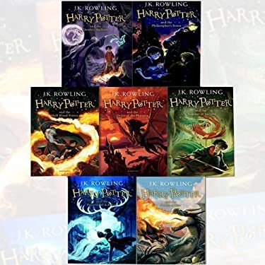 J.K. Rowling Harry Potter Collection 7 Books Bundle (Philosopher's Stone,Chamber of Secrets,Prisoner of Azkaban,Goblet of Fire,Order of the Phoenix,Half-Blood Prince,Deathly Hallows)