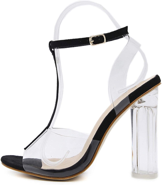 New Sandals PVC Crystal Heel Sexy Bright High Heels Sandals Peep Toe Pumps T-Strap shoes,Black,5