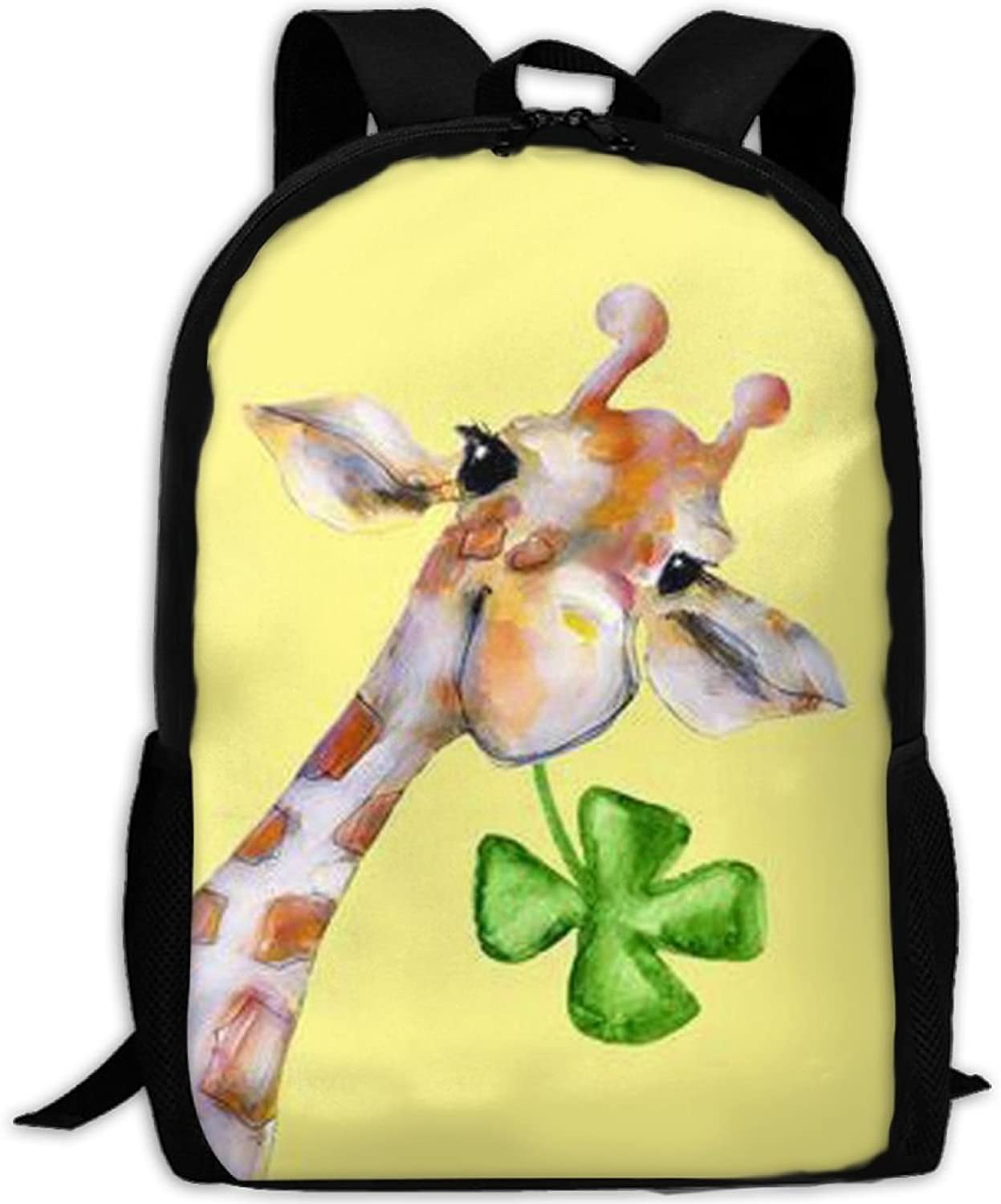 Adult Backpack Giraffe With Lucky Leaf College Daypack Oxford Bag Unisex Business Travel Sports Bag With Adjustable Strap