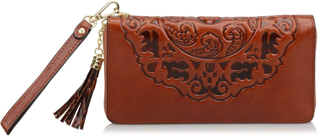 Ainifeel Women's Flora Genuine Leather Designer Wristlet Wallet Money Organizer (Medium 7.87''(W) x 1.18'' (D) x 3.94'' (H), Brown)