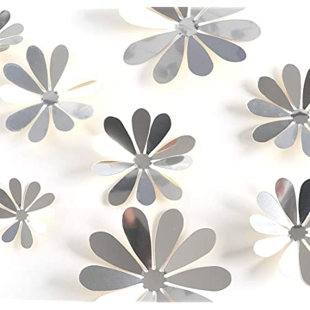 24 Pcs Flowers Mirror Wall Stickers Wall Decal for Home Living Room Bedroom Removable Acrylic Mirror Setting (Silver)