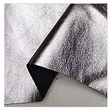 シルバーフェイクレザー張り素材、革布生地、縫製工芸品作り修理用の柔らかい中厚ソファ生地装飾(Size:1.4x1m,Color:銀)