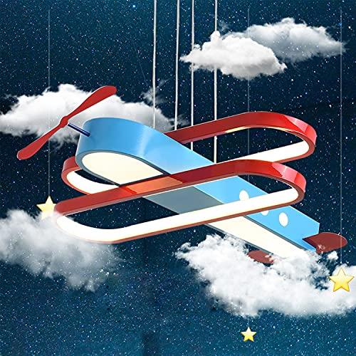Lámpara de techo Avión LED 33W Lámpara de dormitorio Niño, Lámpara colgante Cuarto de los niños Regulable, Luces de techo sala con mando a distancia, Colgante de luz de hierro Altura ajustable, L50 cm
