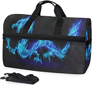 Abstract Blue Dragon Sports Gym Bag with Shoes Compartment Travel Duffel Bag for Men Women
