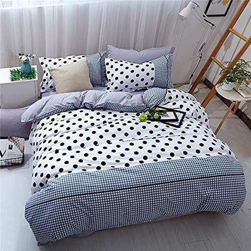 Xiaoahua Textiles para el hogar Diseño de geometría de Rayas concisas Juegos de Ropa de Cama con Estampado de Color sólido Funda nórdica Funda de Almohada Sábanas Ropa de Cama Full 4