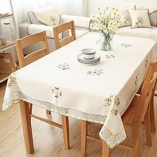 TWTIQFleurs Nappe Blanc Dentelle Creuse Coton Linge De TableAnti-PoussièreTable De Mariage Banquet TV Cabinet Couvertur...