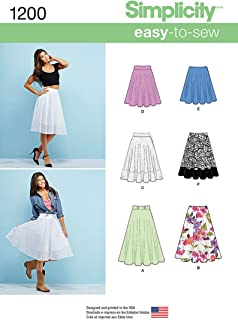 Simplicity 1200 3/4 Circle Skirt Sewing Pattern for Women With Various Length, Sizes 6-14