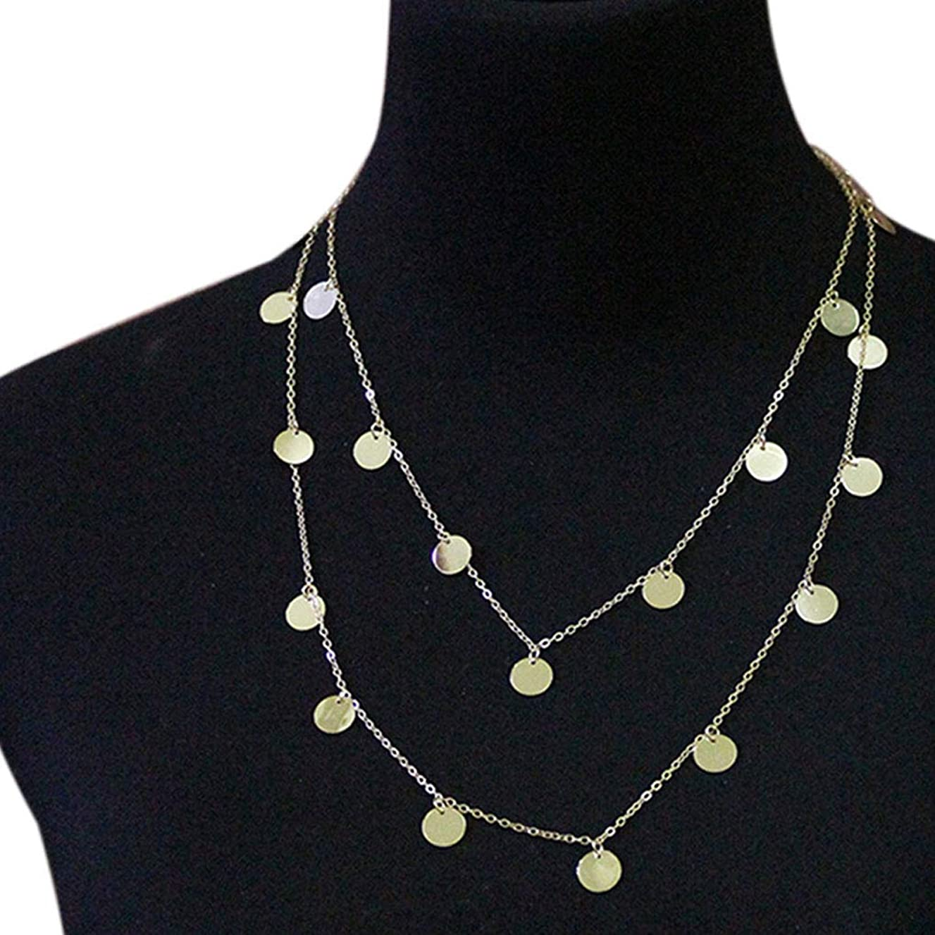 andy cool Attractive Simple Women Round Pendant Necklace Set Multi-layer Girl Round Shape Chain Choker Lady Jewelry Gift Useful and Practical