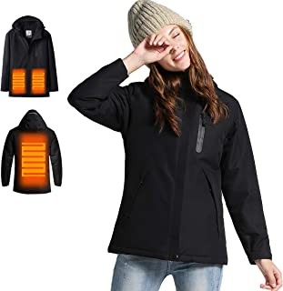 Venustas Women's Heated Jacket Winter Jacket with Non-Detachable Hood, Windproof (ADD Battery Pack to CART)