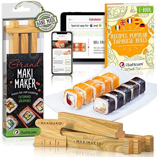 iSottcom Kit Préparation Sushi - Set Sushi Facile Chef et Débutant - Votre Outil Rapide et Professionnel Sushi et Maki - Preparateur de Sushi et Rouleaux Japonais à la Maison - Grand Maki Maker
