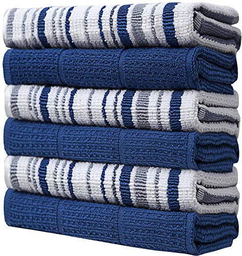 Bumble Towels 6er Pack Gestreifte Geschirrhandtücher / 40 X 71 cm/Dicke, Weiche, Ringspinn-Baumwolle/Gemischtes Paket Buntgewebt & Einfarbig/Weiche Handtücher (Blau)