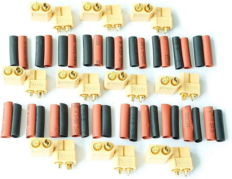 Kcrtek 10 Pair xt60 Male Female Bullet connectors Power Plugs with Heat Shrink for rc lipo Battery