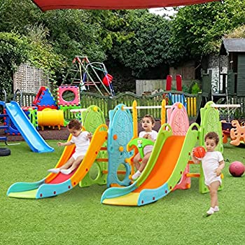 Climber and Slides Set for Toddler,4 in 1 Double Slides Playset for Indoor Outdoor,Slipping Slides Combination Toy Backyard Swing Climber Playground Activities Center