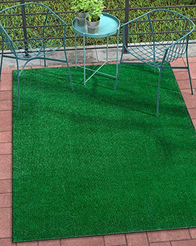 Well Woven Venice Modern Green Artificial Turf 5'3