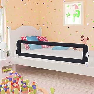 UnfadeMemory Barandilla Plegable de Seguridad para Cama de Niño con Malla Transparente (180x42cm-1 uds, Gris)