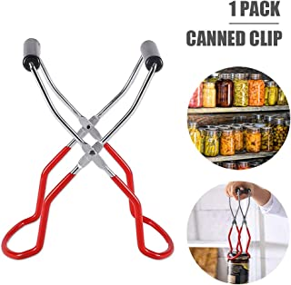 Canning Jar Lifter Tongs Anti-Slip Stainless Steel Clamp with Grip Handle Safe and Secure Grip for Wide and Regular Jars Home Kitchen Restaurant Canning Supplies Kits (1 Pack)