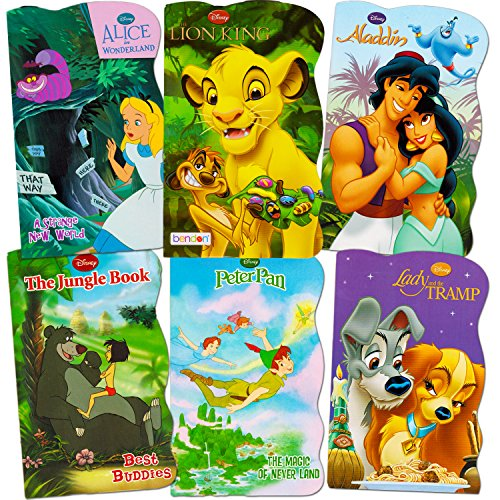 Disney Baby Toddler Beginnings Board Books Super Set (Bundle of 6 Toddler Books - Aladdin, The Lion King, Peter Pan, The Jungle Book, Lady and The Tramp and Alice in Wonderland)