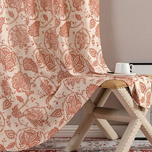 Floral Scroll Printed Linen Curtains Grommet Top - Ikat Flax Textured Medallion Design Jacobean Floral Printed Retro Living Room Curtain Panels 95 Inches Long (Poppy Red, 2 Panels)