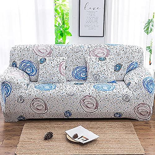 Funda Sofa 3 Plazas Fundas para Sofa Remolino Azul Rosa de Dibujos Animados Fundas de Sofa Elasticas Fundas para Sofá Ajustables Estampada Cubre Sofa con 1 Funda de Cojín
