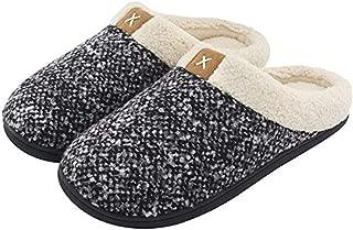 xinghuo Men's Comfort Memory Foam Slipper Wool Faux Plush Lined Shoes Couple Home Cotton Shoes