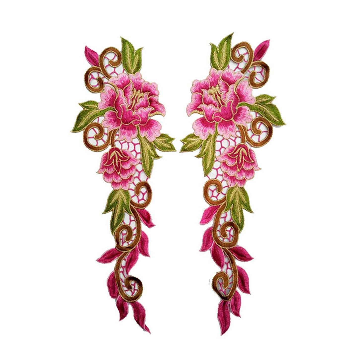2pcs/Set Embroidery Rose Flower Sew On/Iron On Patch Applique DIY Crafts Stiker Patches for Jeans Hat Bag Clothes Accessories Badges (A1)