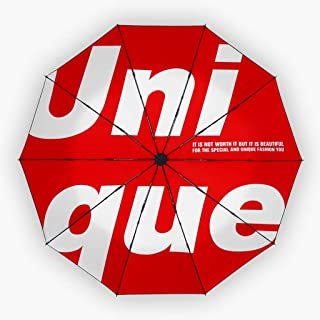 Umbrella Automatic Umbrellas Trends Sun Umbrellas Rain and Rain Umbrellas Folding Umbrellas Red, Pink, Yellow Optional HYBKY (Color : Red)