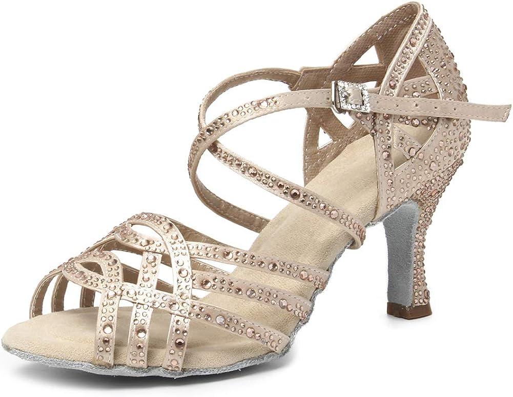 HROYL Women Latin Ballroom Dance Rhinestone Salsa Same day shipping Shoes Cheap sale