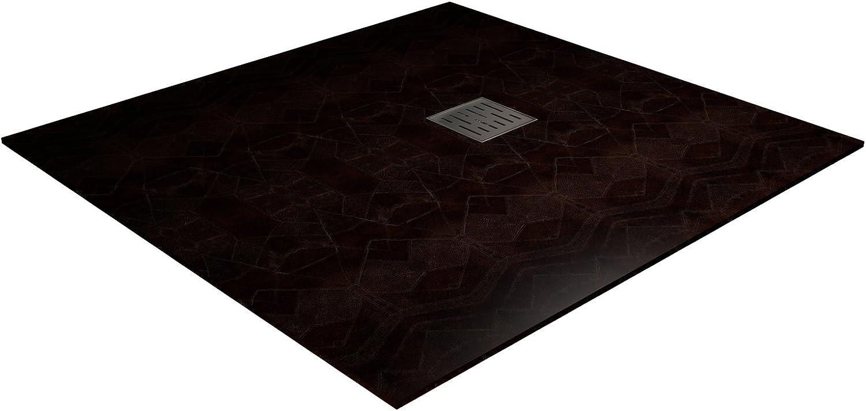 Valso 90 x 90 cm Rechteckig Super Dünn Komposit-Harz Duschwanne     Kastanienbraun RAL 8015     Klassisch, Keine Kanten     Naturalis Textur