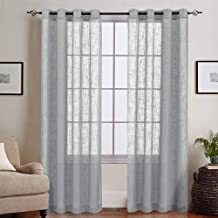 Linenwalas Elegant Slub Linen Khadi Look Non Blackout Solid Sheer Window Curtain with Eyelet Rings - Set of 2 - Silver - 4.5ft x5ft