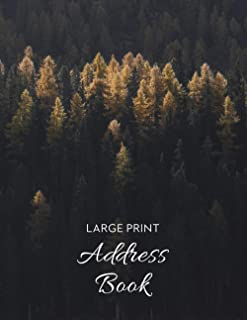 Large Print Address Book: 2 Entries Per Page, Address & Birthday Book with Tabs Pritned for Men | Forest Cover