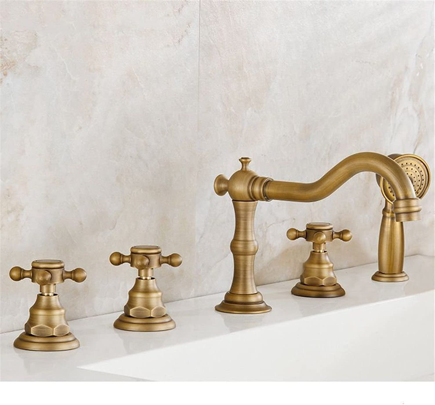 NewBorn Faucet Kitchen Or Bathroom Sink Mixer Tap All Copper Antique Bath Water Tap Three Five-Piece Shower Tub And Cold Water Taps A