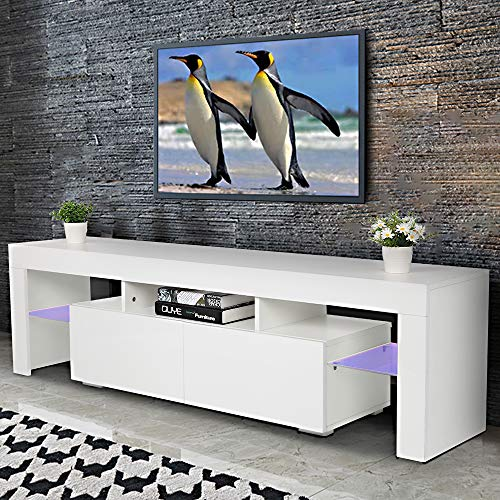 Bonnlo Modern TV Stand with LED Light for 65 Inch TV LED TV...