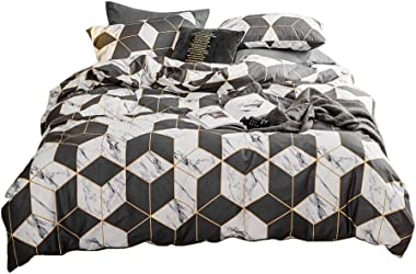 Percale Duvet Cover,Luxury Plaid Duvet Cover Twin,3pcs 100% Natural Cotton Geometric Cube Pattern Printed Bedding Collections