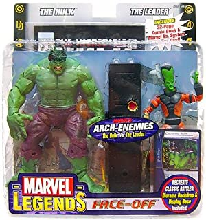 VARIANT Version Marvel Legends - Face-Off - Arch-Enemies Series - Hulk vs The Leader - Includes: 32 Page Comic Book & Marvel vs System Trading Card - With Diorama