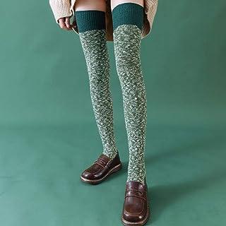 MoonyLI, Calcetines altos para mujer, de algodón, muy largos, de punto, cálidos, gruesos, largos, 1 par de calcetines antideslizantes