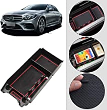 Longzhimei for Mercedes-Benz CLS Class E (Single usb port) Console Storage Tray ABS Material and PVC Latex Non-slip Mat Car Central Armrest Storage Box Tidying Organizer