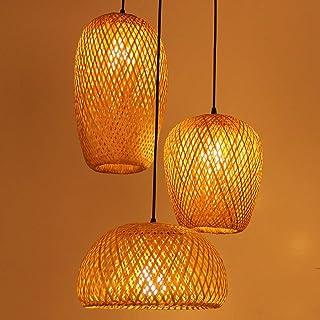 AFCTI Lampe Suspendue Bambou Tissé À La Main, Rotin Lampe À Suspension Tissée À La Main, 3-Lumières Abat-Jour Bambou, Lust...