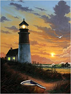 Ohio Wholesale Radiance Lighted Canvas Wall Art, Lighthouse Design, 16X12-Inch